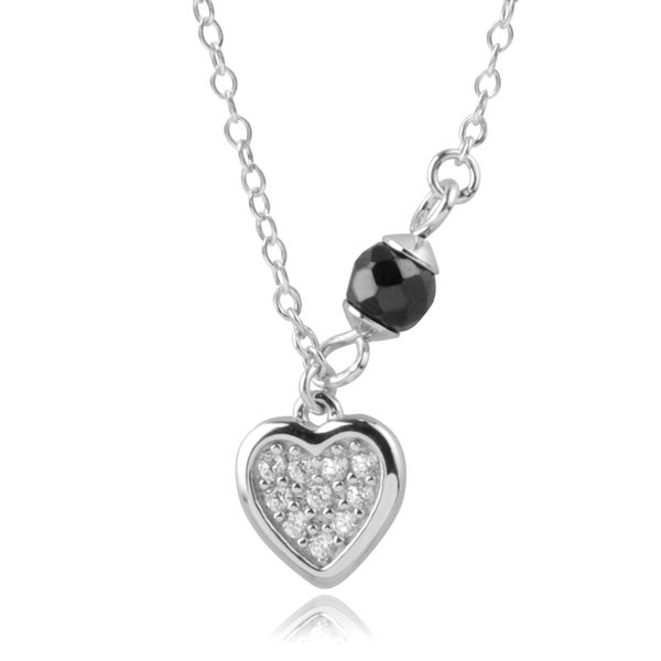 Journee Collection Sterling Silver Cubic Zirconia Black Bead Heart Necklace
