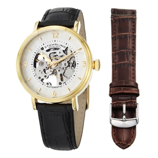 Stuhrling Original Men's Automatic Legacy Leather Strap Watch Set