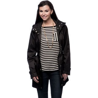 Anne Klein Women's Missy Black Hooded Anorak