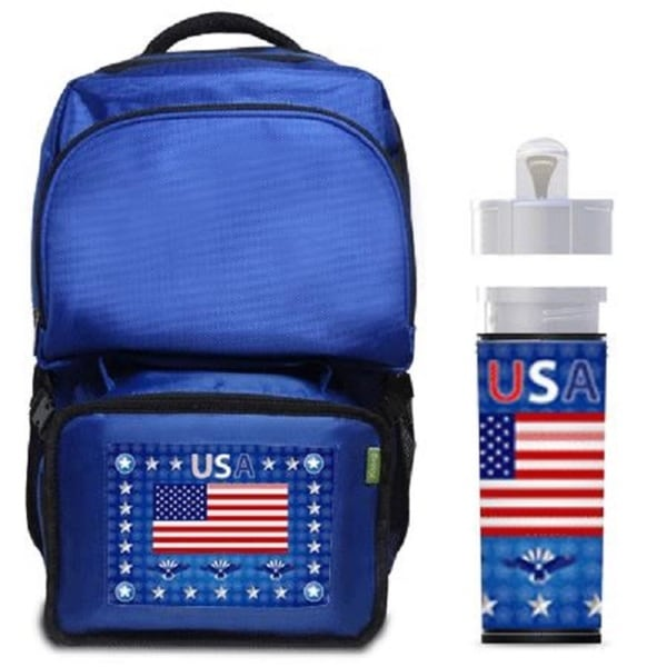 USA Flag Backpack/ Lunchbox Combo with Matching Water Bottle