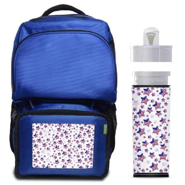 USA Stars Backpack/ Lunchbox Combo with Matching Water Bottle