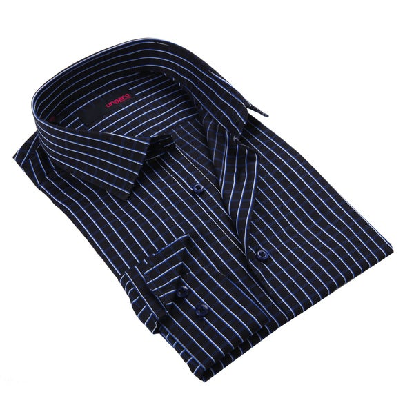 Ungaro Men's Black Striped Cotton Dress Shirt