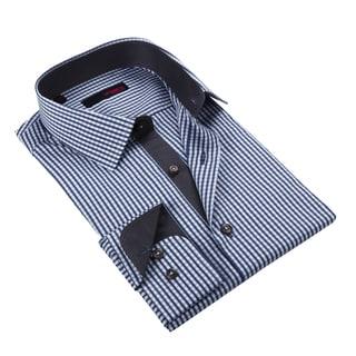 Ungaro Men's Navy and Grey Mini Chekered Cotton Dress Shirt