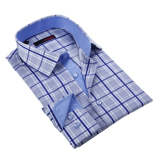 Ungaro Men's Navy and White Cotton Dress Shirt