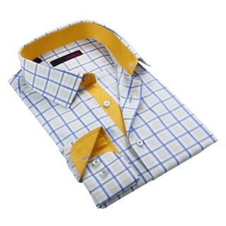 Ungaro Men's Yellow and Blue Plaid Cotton Dress Shirt