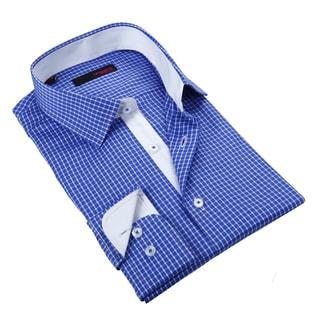Ungaro Men's Blue Checkered Cotton Dress Shirt
