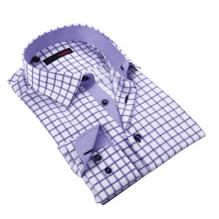 Ungaro Men's Purple Checkered Cotton Dress Shirt