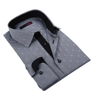 Ungaro Men's Black and White Plaid Cotton Dress Shirt