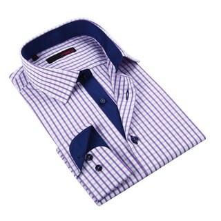 Ungaro Men's Purple Navy and White Gingham Cotton Dress Shirt