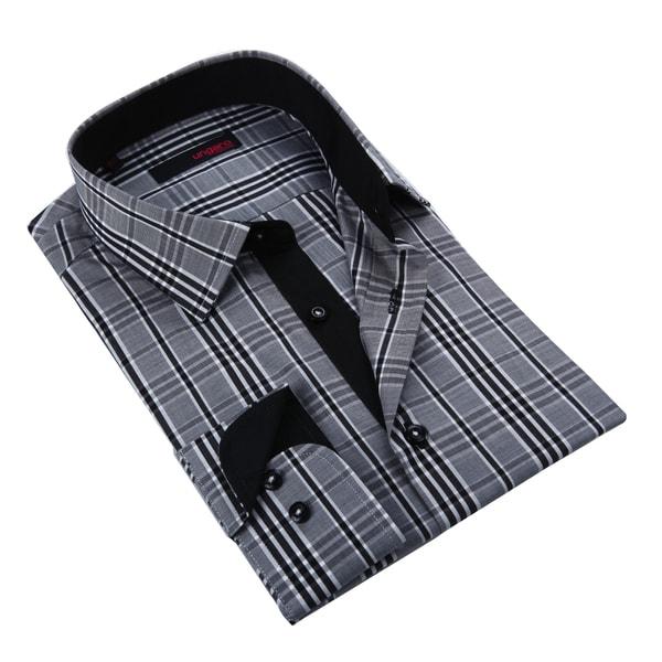 Ungaro Men's Black and Grey Cotton Dress Shirt