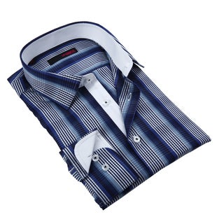 Ungaro Men's Blue and Navy Plaid Cotton Dress Shirt