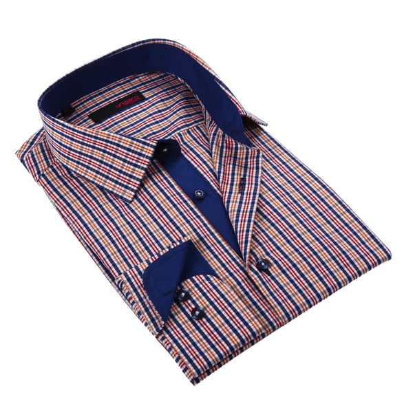 Ungaro Men's Blue Orange and Red Cotton Dress Shirt