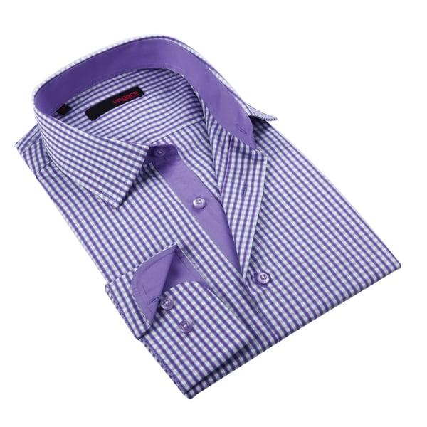 Ungaro Men's Purple Gingham Cotton Dress Shirt