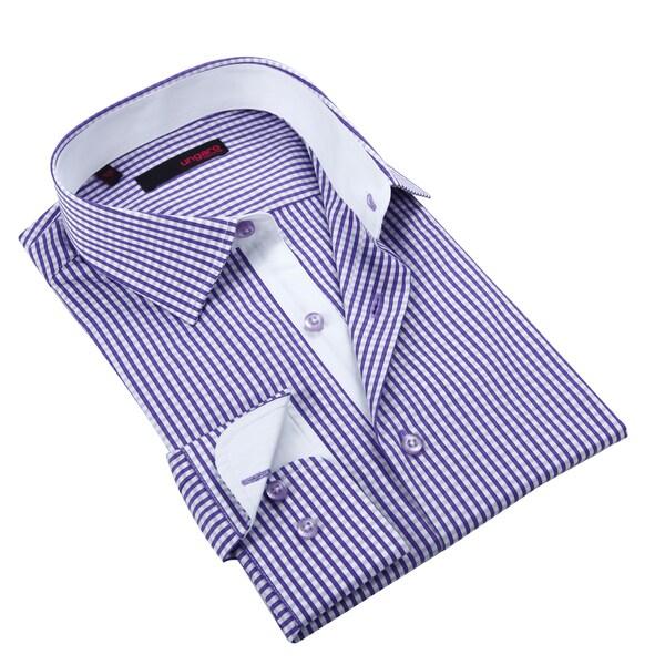 Ungaro Men's Purple Micro Gingham Cotton Dress Shirt