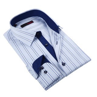 Ungaro Men's Light Blue Striped Cotton Dress Shirt