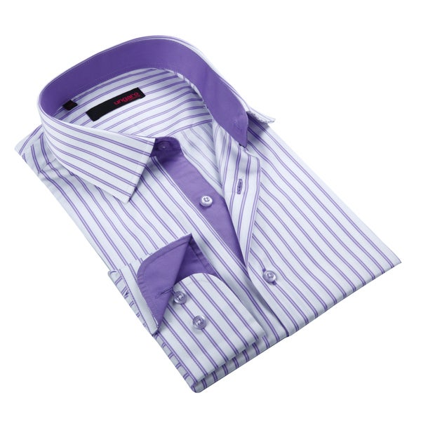 Ungaro Men's Purple and Lavender Striped Cotton Dress Shirt