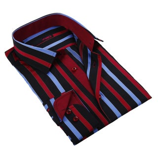 Ungaro Men's Blue Black and Red Cotton Dress Shirt