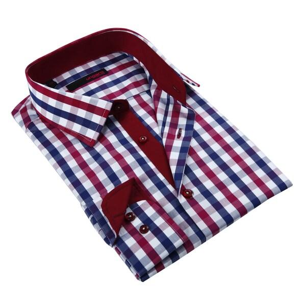 Ungaro Men's Blue and Red Cotton Dress Shirt