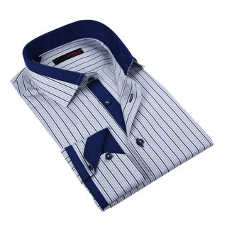 Ungaro Men's Blue and Grey Pinstriped Cotton Dress Shirt