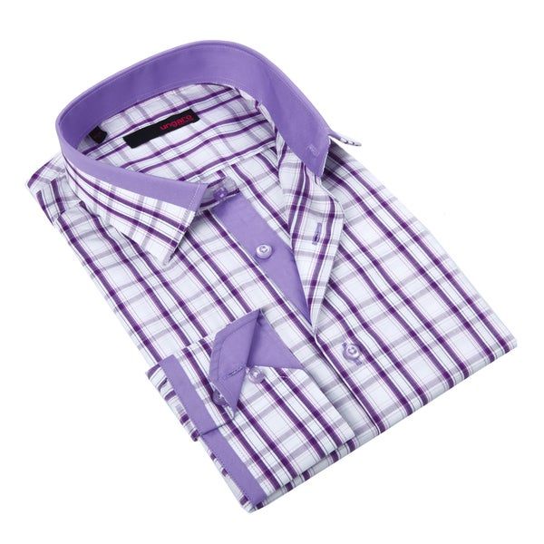 Ungaro Men's Purple and Lavender Plaid Cotton Dress Shirt
