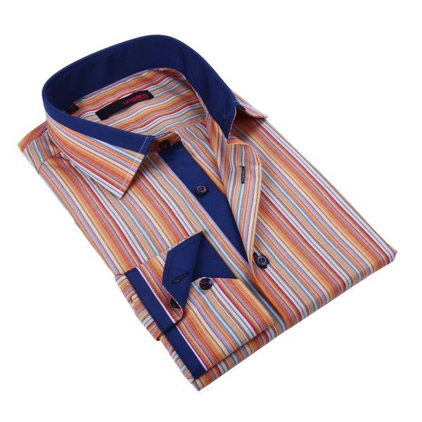 Ungaro Men's Blue and Orange Cotton Dress Shirt