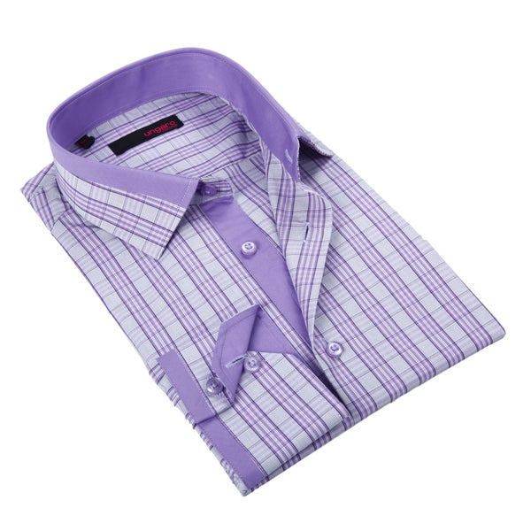 Ungaro Men's Purple and Lavender Small Plaid Cotton Dress Shirt