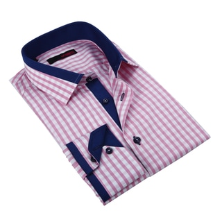 Ungaro Men's Pink White and Blue Cotton Dress Shirt