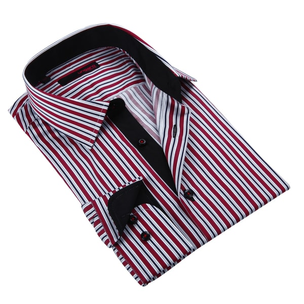 Ungaro Men's Navy Red and White Striped Cotton Dress Shirt