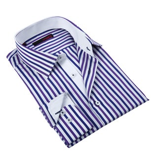 Ungaro Men's Purple and White Cotton Dress Shirt