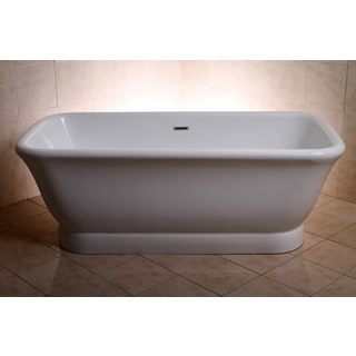 Large Contemporary Double Ended Acrylic 71-inch Pedestal Bathtub