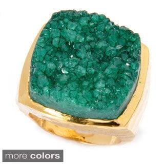 Goldplated Rough-cut Sugar Druzy Square Ring