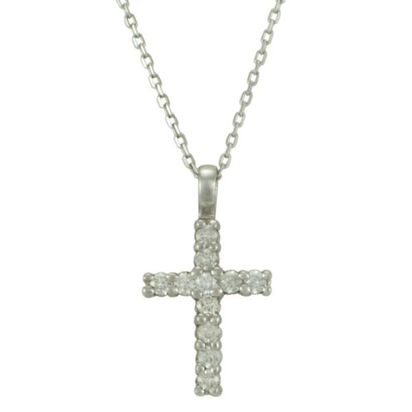 14k White Gold Diamond .25ct TDW Cross Necklace (G-H, SI1-SI2)