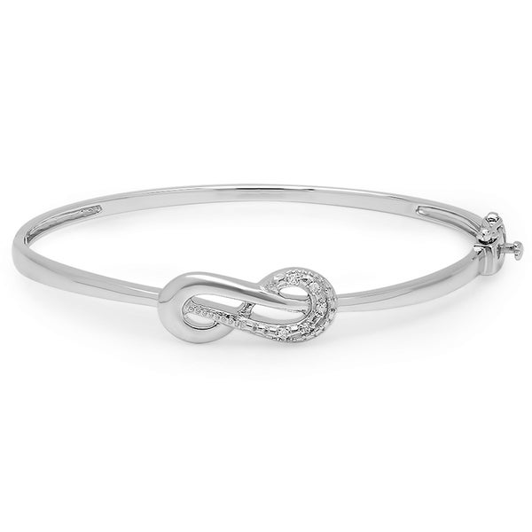 Sterling Silver Diamond Accent Infinity Loop Bangle Bracelet