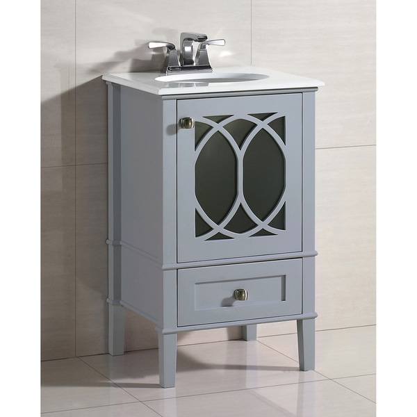 25 Inch Bath Vanity Set With Two Doors And White Quartz Marble Top