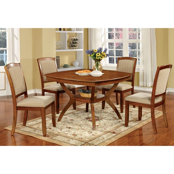 Furniture of America Oakley 5-Piece Transitional Style Square Dining Set