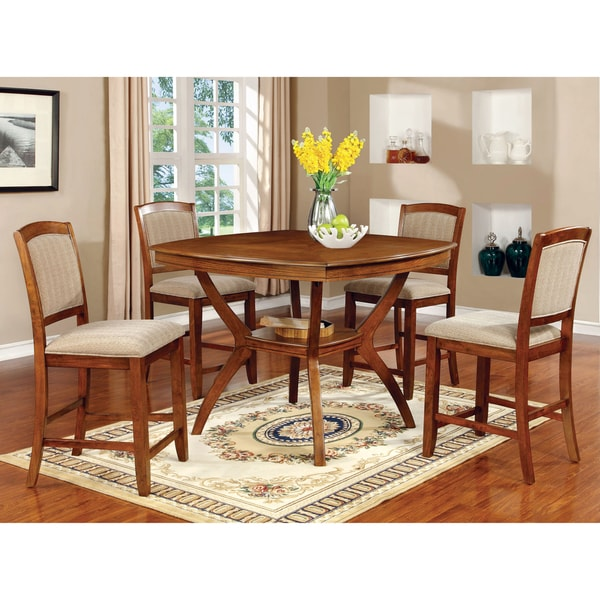 Furniture of America Oakley 5-Piece Transitional Style Counter Height Dining Set