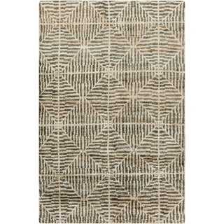 Jill Rosenwald : Hand-Knotted Forrest Geometric Jute Rug (5' x 8')