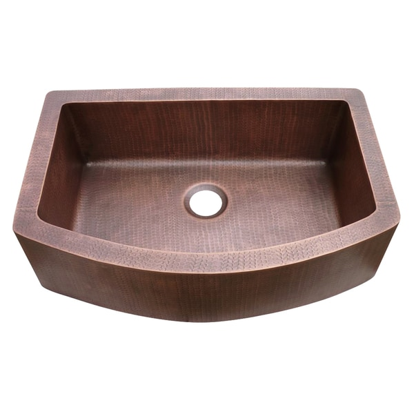 Farmhouse Hammered Copper Single Bowl Arch Sink