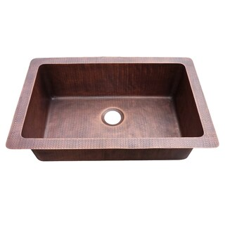 Farmhouse Hammered Copper Single Bowl Sink
