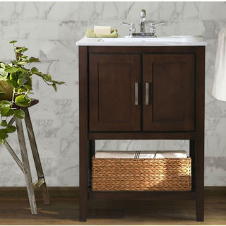 Ceramic Single Sink Bathroom Vanity with Basket