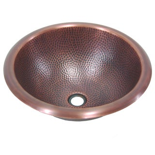 Yosemite Home Decor Pin Hammered Copper Self Rimming Sink