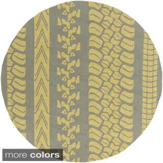 Mike Farrell : Hand-Hooked Otis Stripe Polypropylene Rug (8' Round)