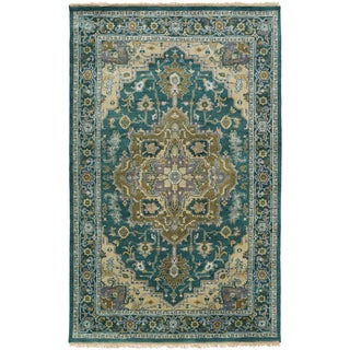 Hand-Knotted Conor Border New Zealand Wool Rug (5'6 x 8'6)