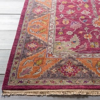 Hand-Knotted Andy Border New Zealand Wool Rug (5'6 x 8'6)