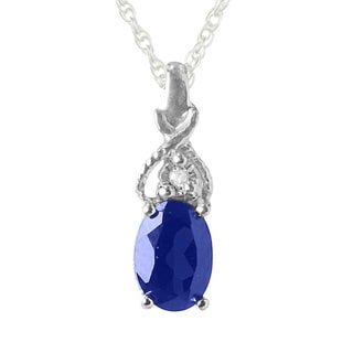 Sterling Silver Blue Sapphire and Diamond Accent Pendant Necklace