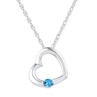 Sterling Silver 1/6ct TGW Blue Topaz Heart Pendant Necklace