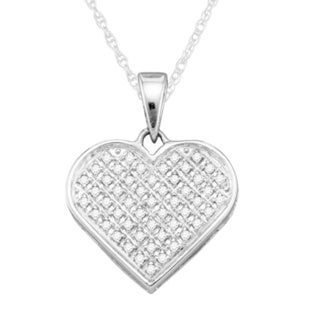Sterling Silver 1/6ct TDW Diamond Heart Pendant Necklace (G-H, I1-I2)