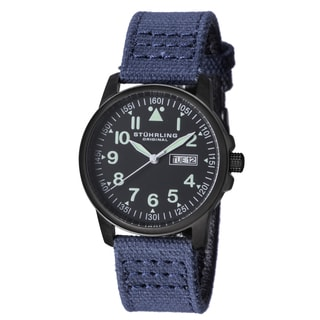 Stuhrling Original Men's Quartz Aviator Blue Canvas Strap Watch