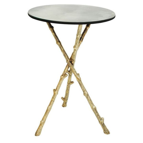 Twig Tripod Side Table with Antique Mirror Top