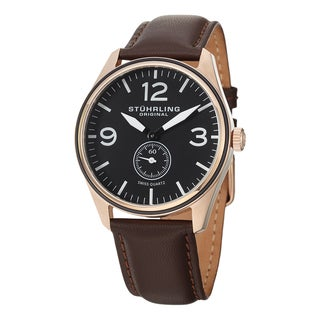 Stuhrling Original Men's Swiss Quartz Aviator Leather Strap Watch